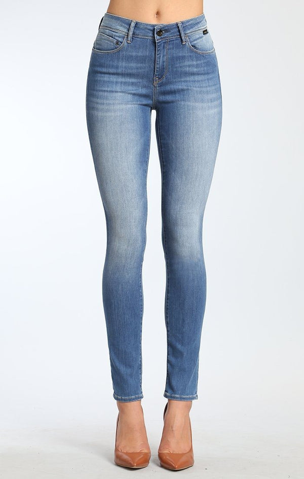 ALISSA SUPER SKINNY IN MID INDIGO GOLD FEATHER - Mavi Jeans