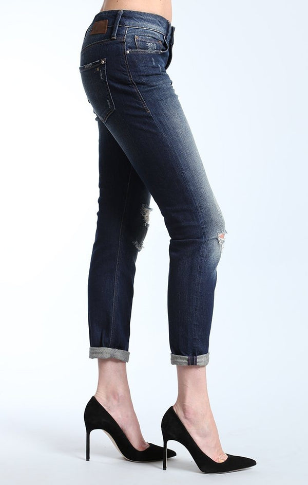 EMMA SLIM BOYFRIEND IN DARK RIPPED AUTHENTIC - Mavi Jeans