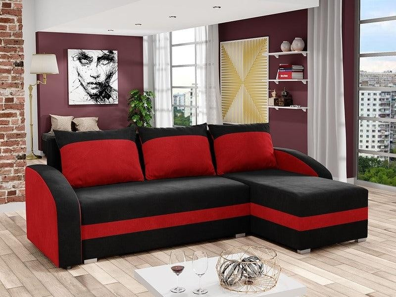 CORNER SOFA BED VIVA BLACK / RED 236cm, CORNER SOFA BEDS, Anna Furniture, Anna Furniture  - Anna Furniture