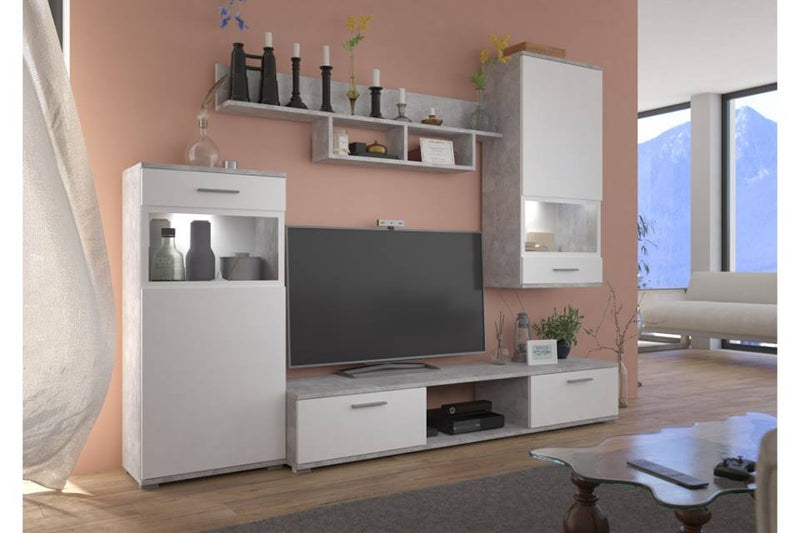 TV WALL UNIT MAXI White Concrete grey, , Anna Furniture, Anna Furniture  - Anna Furniture