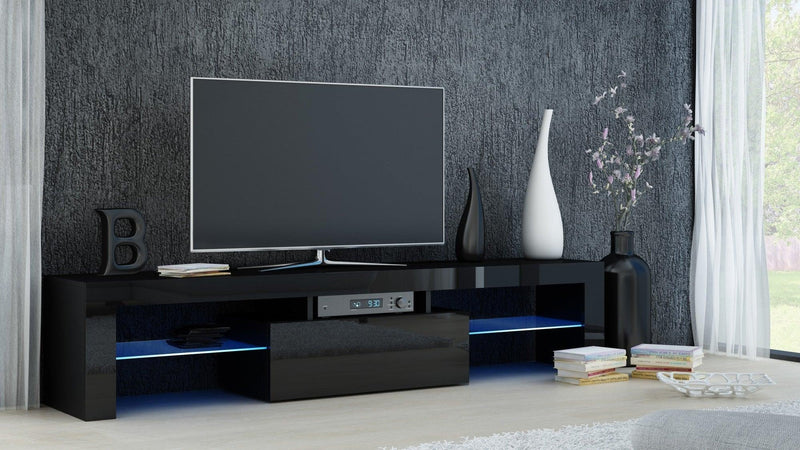 TV STAND DACO BLACK GLOSS FRONTS 160CM - Anna Furniture