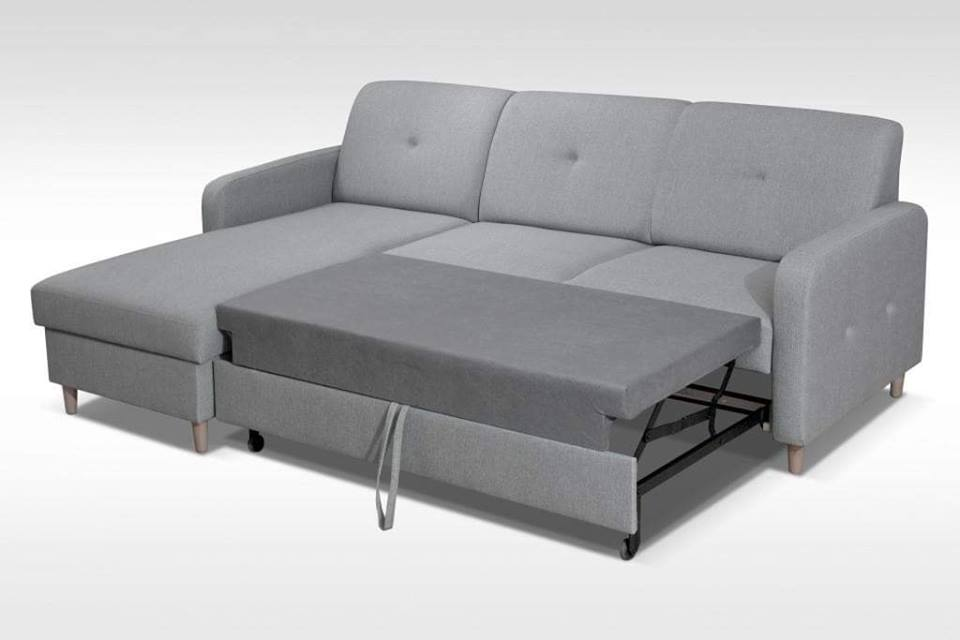 Corner Sofa Bed Milli Grey 220cm