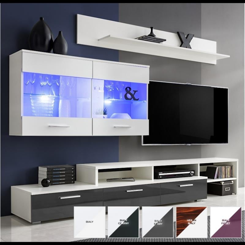 TV WALL UNIT ZARA WHITE/GREY GLOSSY FRONTS WITH LED LIGHT, TV WALL UNITS, SALSA, Anna Furniture  - Anna Furniture