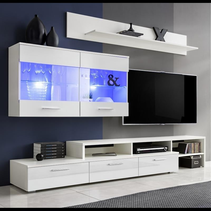 Tv Wall Unit Zara White White Glossy Fronts With Led Light