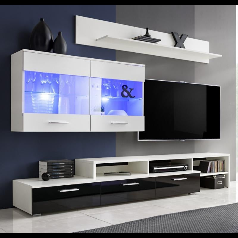 TV WALL UNIT ZARA WHITE/BLACK GLOSSY FRONTS WITH LED LIGHT, TV WALL UNITS, SALSA, Anna Furniture  - Anna Furniture
