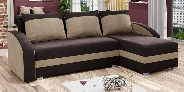 CORNER SOFA BED VIVA BROWN / BEIGE 236cm, CORNER SOFA BEDS, Anna Furniture, Anna Furniture  - Anna Furniture