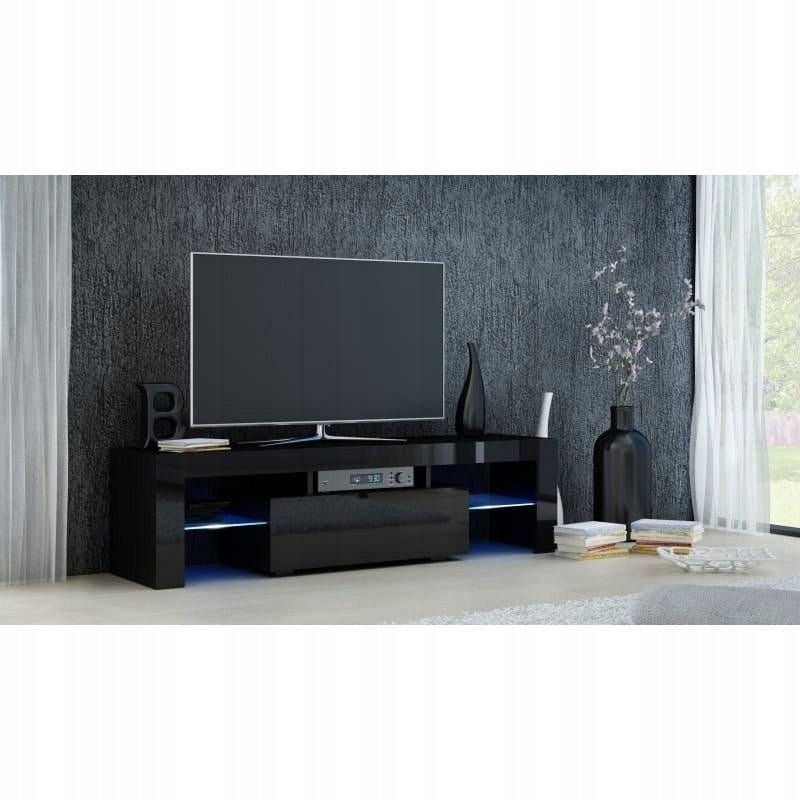 TV STAND DACO BLACK GLOSS FRONTS 140CM, RTV, Anna Furniture, Anna Furniture  - Anna Furniture