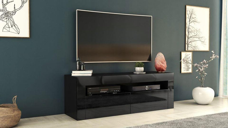 TV STAND DACO 2 BLACK GLOSS FRONTS 160CM, RTV, Anna Furniture, Anna Furniture  - Anna Furniture