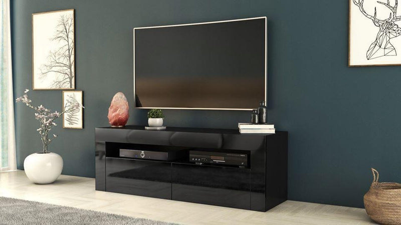 TV STAND DACO 2 BLACK GLOSS FRONTS 140CM, RTV, Anna Furniture, Anna Furniture  - Anna Furniture