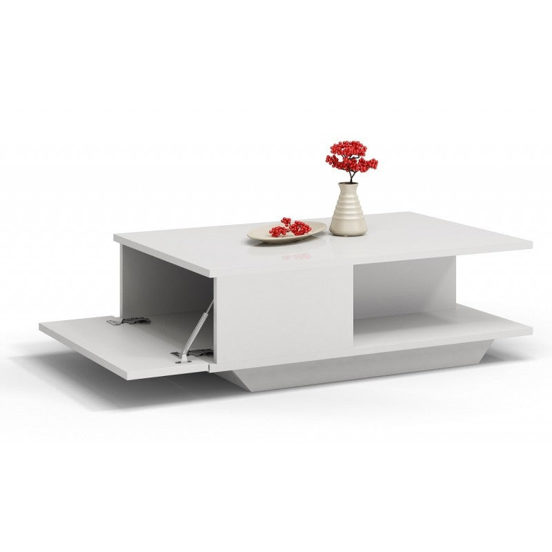 COFFEE TABLE DENVER WHITE GLOSS TOP AND DRAW FRONT, COFFEE TABLE, KOYA, Anna Furniture  - Anna Furniture
