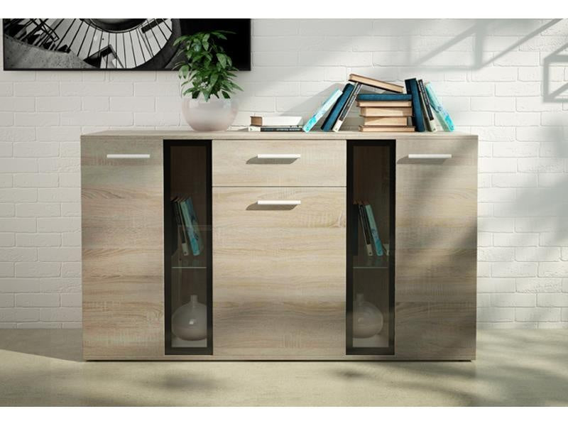 SIDEBOARD SALSA WHITE OR SONOMA LED LIGHTS OPTIONAL 140CM, SIDE CABINET, PORI GLOSSY, Anna Furniture  - Anna Furniture