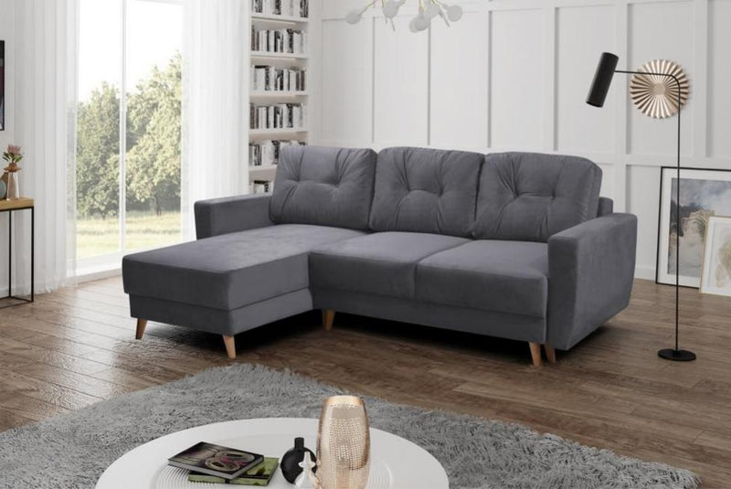 CORNER SOFA BED BEN GREY 235CM - Anna Furniture