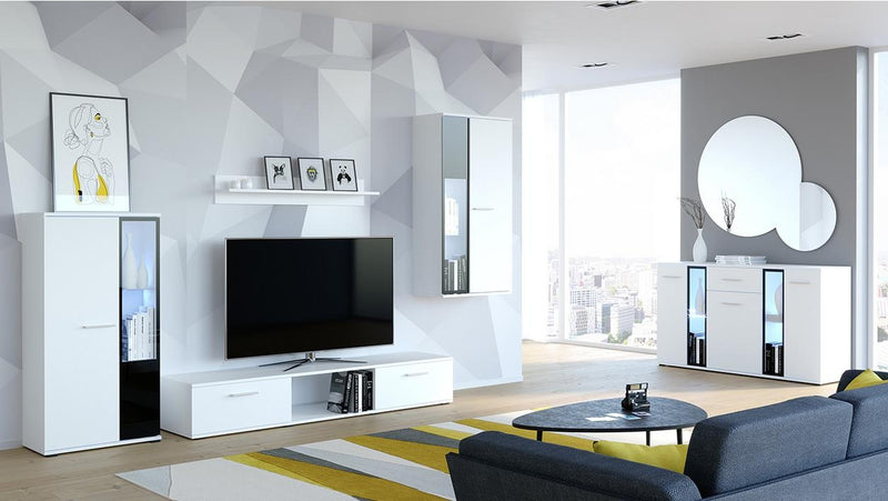 TV WALL UNIT SAMBA SET WITH SIDEBOARD WHITE - Anna Furniture