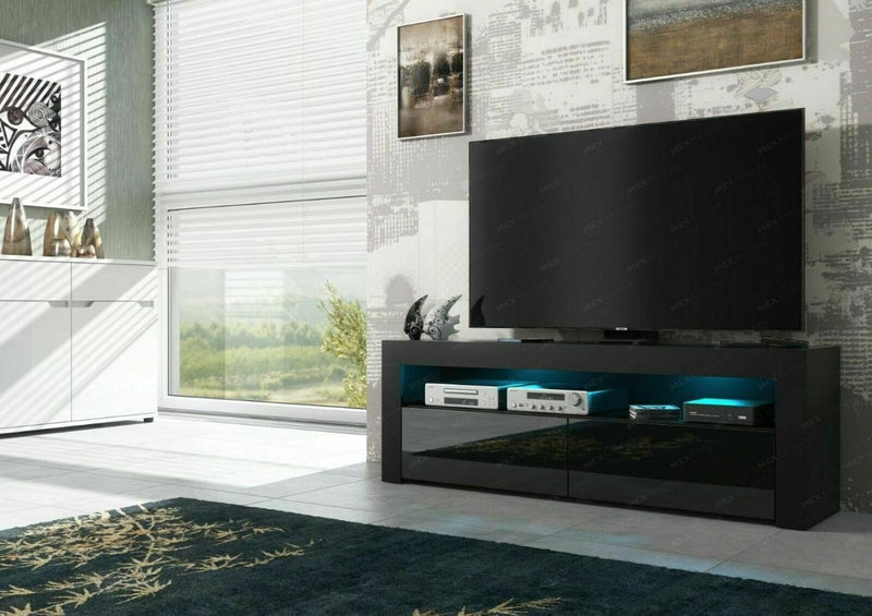 TV STAND DACO 2 BLACK GLOSS FRONTS 140CM - Anna Furniture