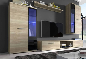TV WALL UNIT SALSA SONOMA OAK MATTE, TV WALL UNITS, SALSA, Anna Furniture  - Anna Furniture