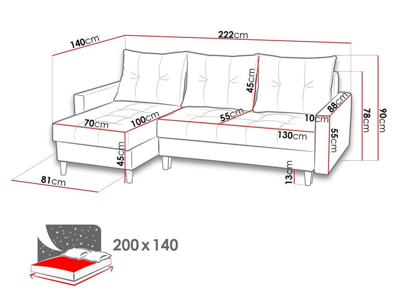 CORNER SOFA BED BRIAN (NO83) 222x140cm universal - Anna Furniture
