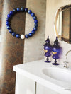 Blue Lapis lazuli and natural pearl womens bracelet