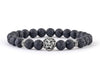 Men's lion bracelet with black lava beads