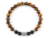 Men's Buddha bracelet with black onyx and tiger eye beads