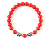 Natural red coral bracelet with silver elephant