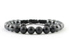 Adjustable bracelet with non-magnetic hematite and black matte onyx beads
