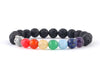 Black Buddha bracelet with seven chakra beads