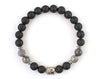 Black matte onyx buddha bracelet with fancy jasper beads