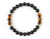 Black onyx and tiger eye men's bracelet