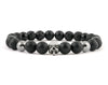 Black Skull bracelet with lava, onyx and hematite beads