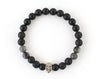 Black Skull bracelet with lava, onyx and labradorite beads