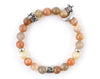 Cancer zodiac sign bracelet with natural peach moonstone beads