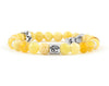 Cancer zodiac sign bracelet with natural yellow opal beads