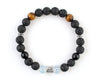 Cancer zodiac sign bracelet with volcanic stone and black onyx beads