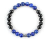 Capricorn zodiac sign bracelet with lapis lazuli and black onyx beads