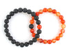 Carnelian and black lava rock couple bracelets