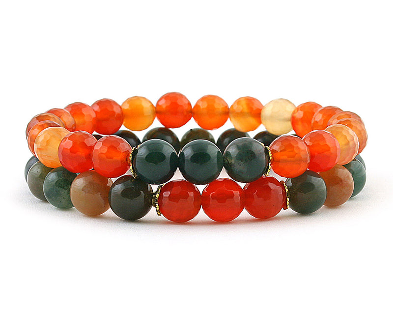 carnelian and indian agate couple bracelets