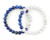 Couple bangle with natural howlite and lapis lazuli beads