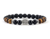 Crown bracelet with black onyx and tiger eye beads