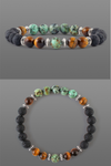 African Turquoise men's bracelet with black volcanic lava and tiger eye beads
