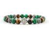 Fashion Panther bracelet with tiger eye, malachite and fancy jasper beads