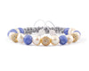 Fashion Womens bracelet with cubic zirconia, aquamarine and pearl beads