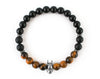 Fashionable Batman bracelet with black smooth onyx and tiger eye beads