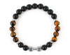 Fitness bracelet with matte onyx and tiger eye beads