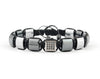 Flatbead Men's macrame bracelet with silver hematite and CZ beads