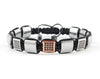 Flatbead Men's macrame bracelet with silver hematite and rose gold CZ beads