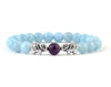 Girlfriend Aquamarine women's bracelet with silver elephant