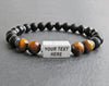 Guys bracelets custom with matte black onyx and tiger eye beads
