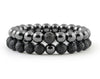 Hematite and black lava couple bracelets