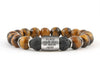ID engravable bracelets for men with brown tiger eye and lava beads