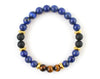 Lapis lazuli men's bracelet with tiger eye beads